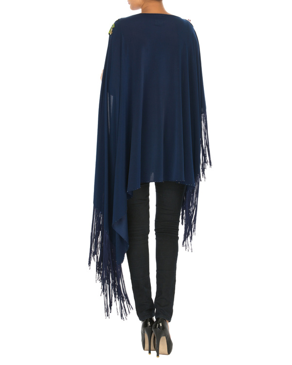 Navy embroidered poncho with tassels 1