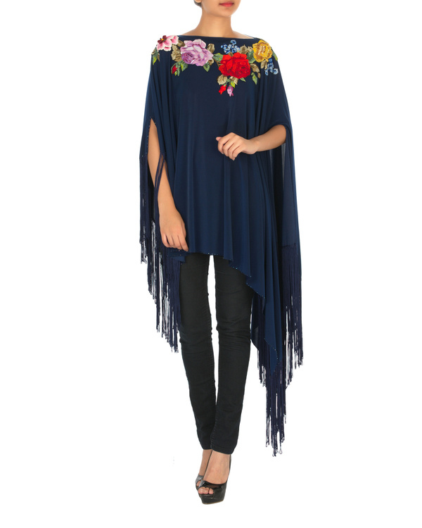 Navy embroidered poncho with tassels 2