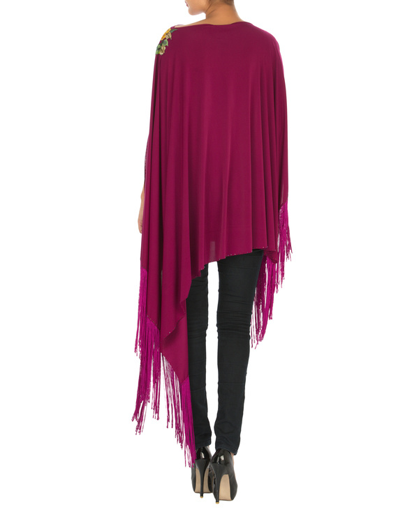 Orchid embroidered poncho with tassels 1
