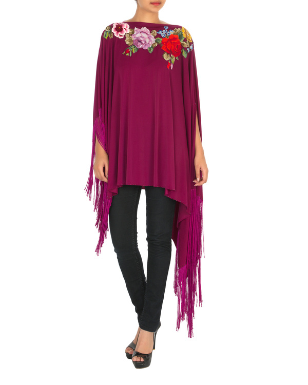 Orchid embroidered poncho with tassels 2