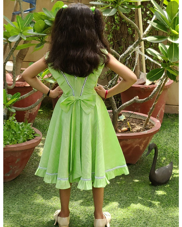 Green flared frock 1