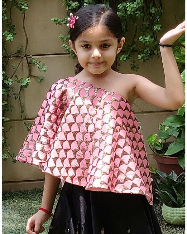 Pink and black skirt set 1