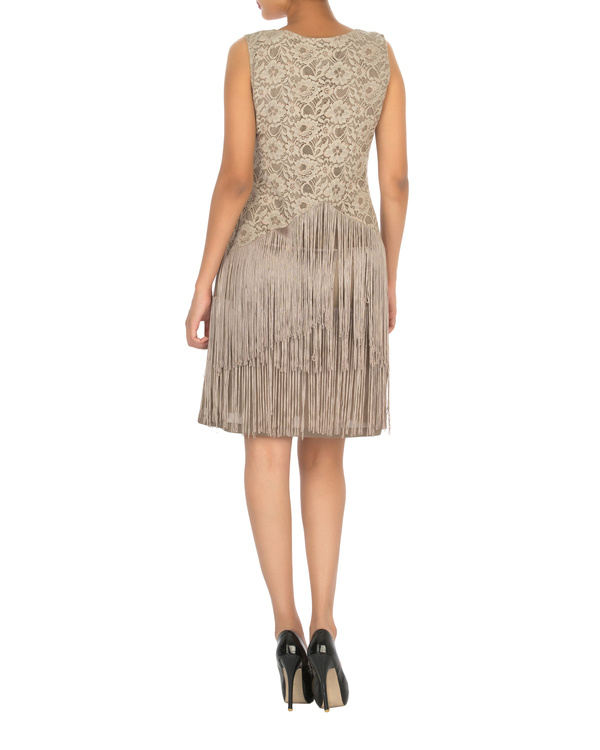 Ash grey dress with tassels 1