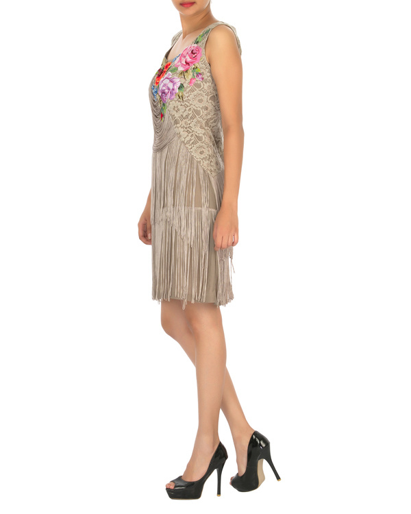 Ash grey dress with tassels 2