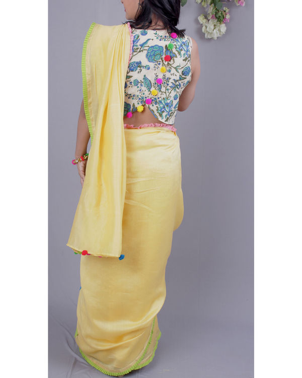 Chanderi sari with crop top 2