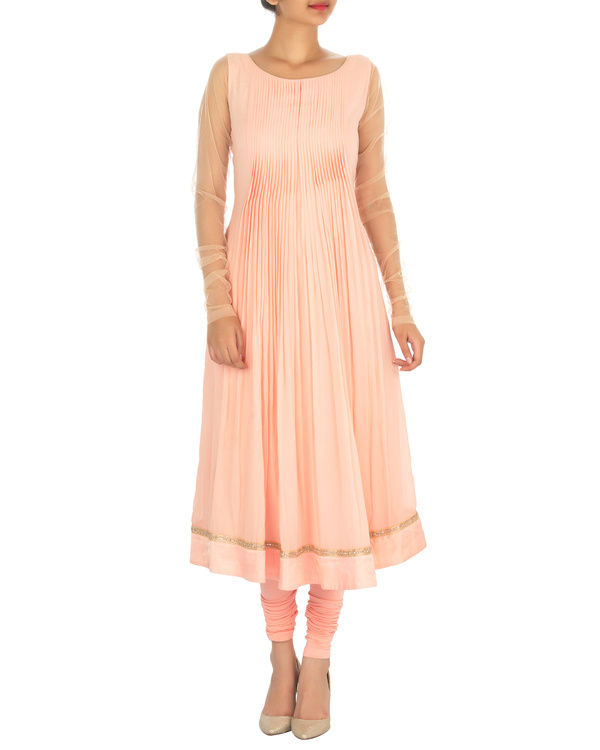 Peach pleated georgette kurta set 1