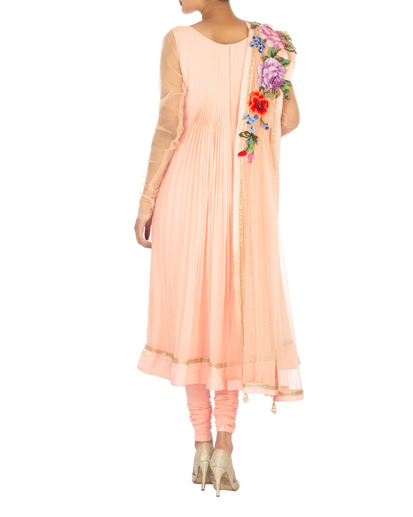Peach pleated georgette kurta set 2