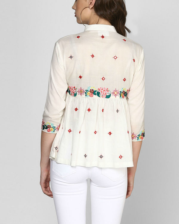 White embroidered peplum top 2