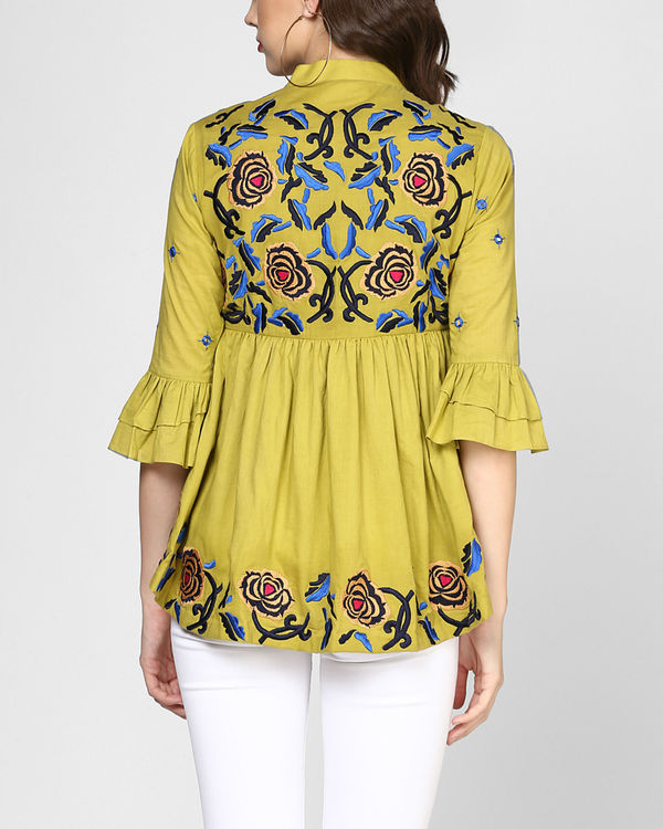 Olive green embroidered peplum top 1
