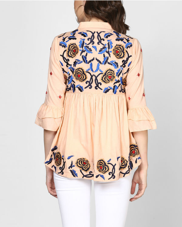 Peach embroidered peplum top 2