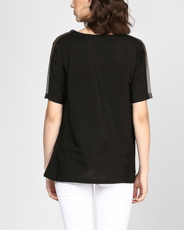 Black embroidered top with pocket 2