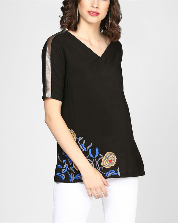 Black embroidered top with pocket 1