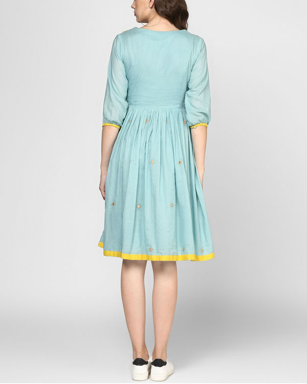 Teal embroidered midi dress 2