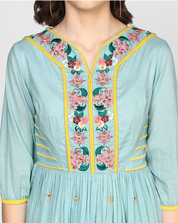 Teal embroidered midi dress 1