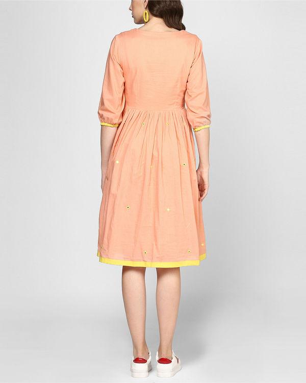 Peach embroidered midi dress 2