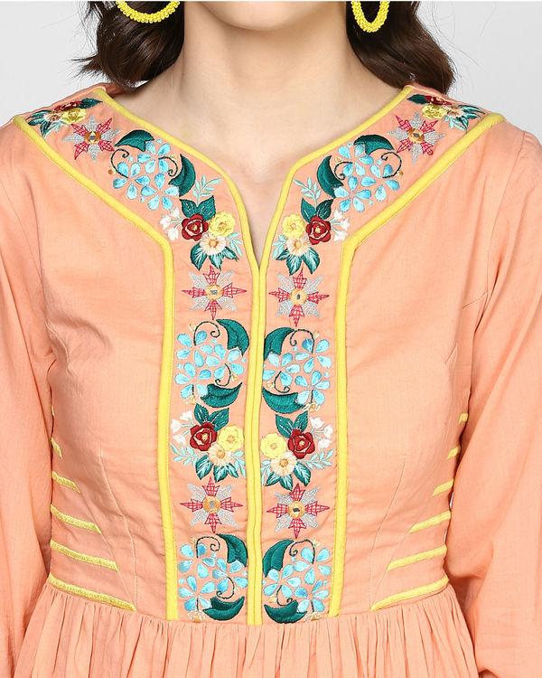 Peach embroidered midi dress 1