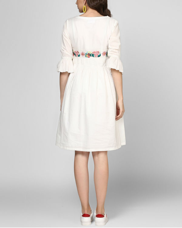 White embroidered midi dress 2