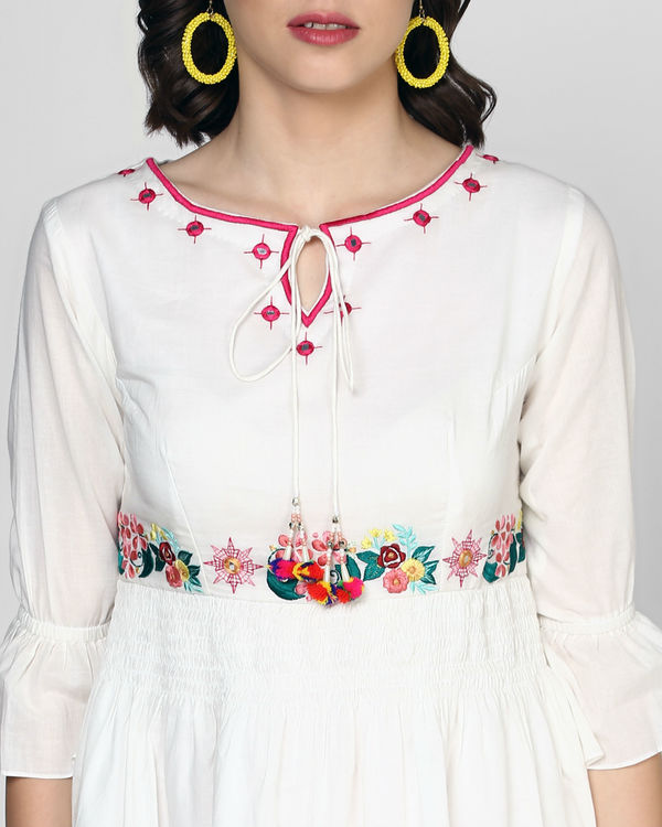 White embroidered midi dress 1