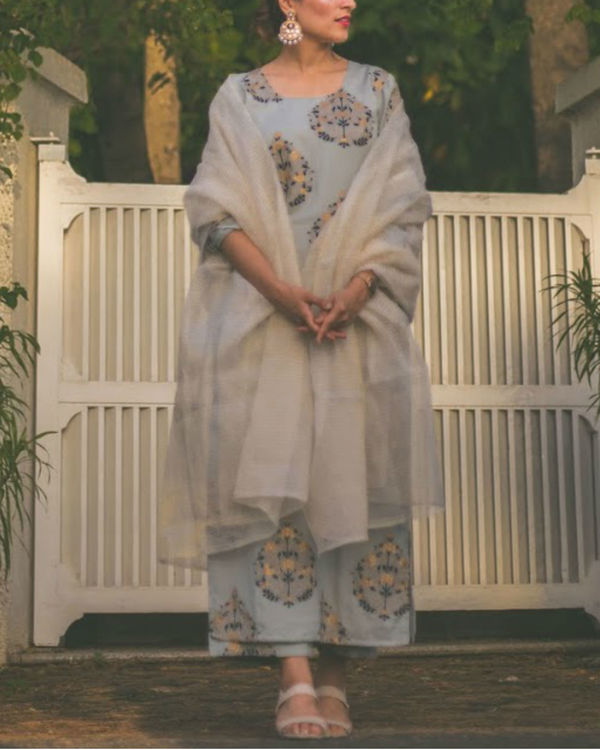 Blue Leaf Kurta set 1