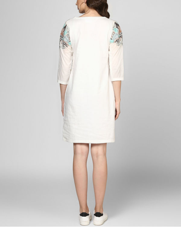 White embroidered shift dress 2