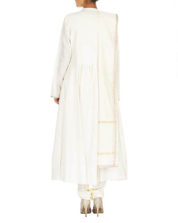 Guldasta white spun silk anarkali set 1