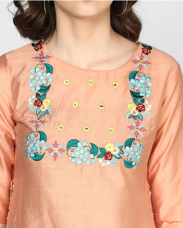 Peach floral embroidery tunic 1