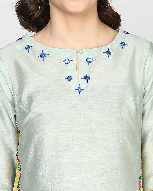 Teal Two tones embroidered tunic 1