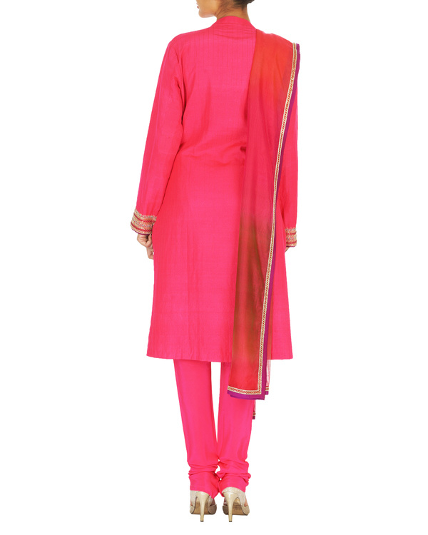 Guldasta pink tussar georgette quilted kurta set with chanderi dupatta 1