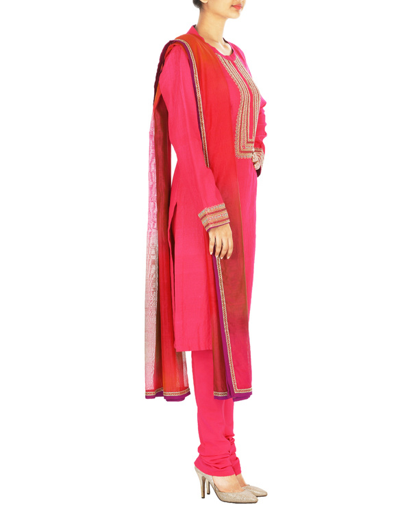 Guldasta pink tussar georgette quilted kurta set with chanderi dupatta 2