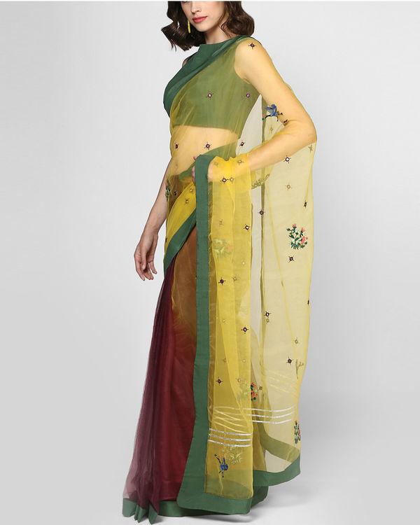Marsala stitched sari 1