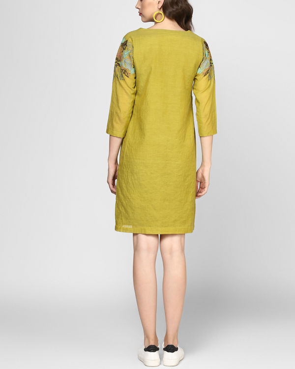 Olive green embroidered shift dress 2