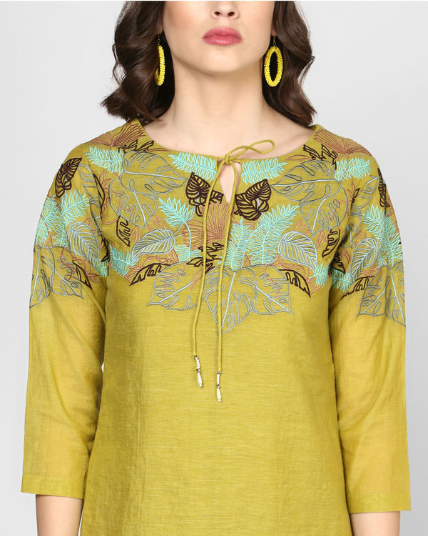 Olive green embroidered shift dress 1