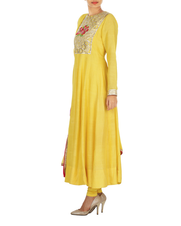 The flowering lattice yellow tussar georgette anarkali set 2