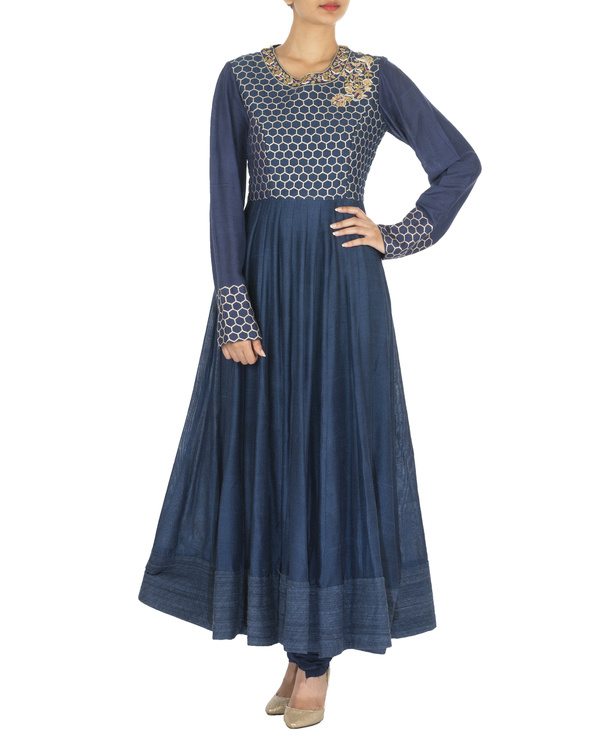 The flowering lattice navy blue quilted tussar georgette anarkali set 2