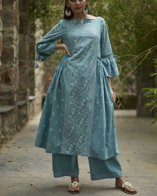 Aqua blue suchaya set with dupatta 2