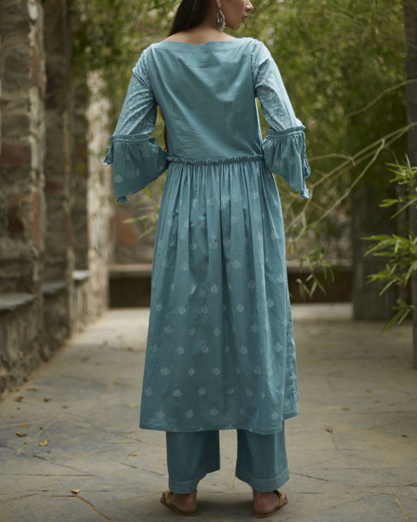 Aqua blue suchaya set with dupatta 1