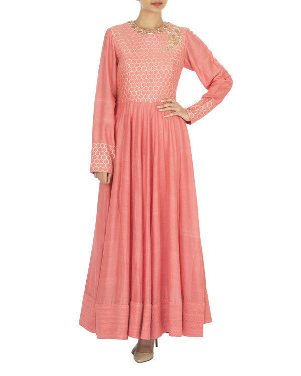 The flowering lattice coral quilted tussar georgette anarkali set 2