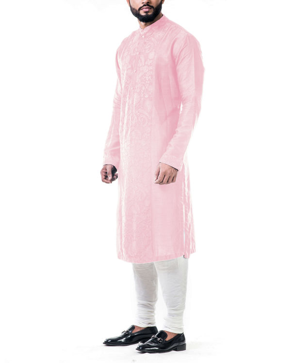 Pink ari embroidery silk kurta set 1