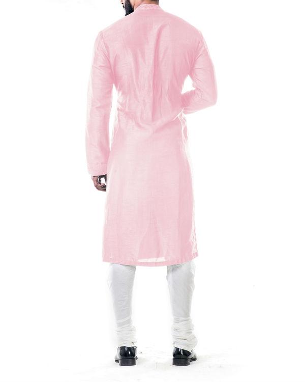Pink ari embroidery silk kurta set 2