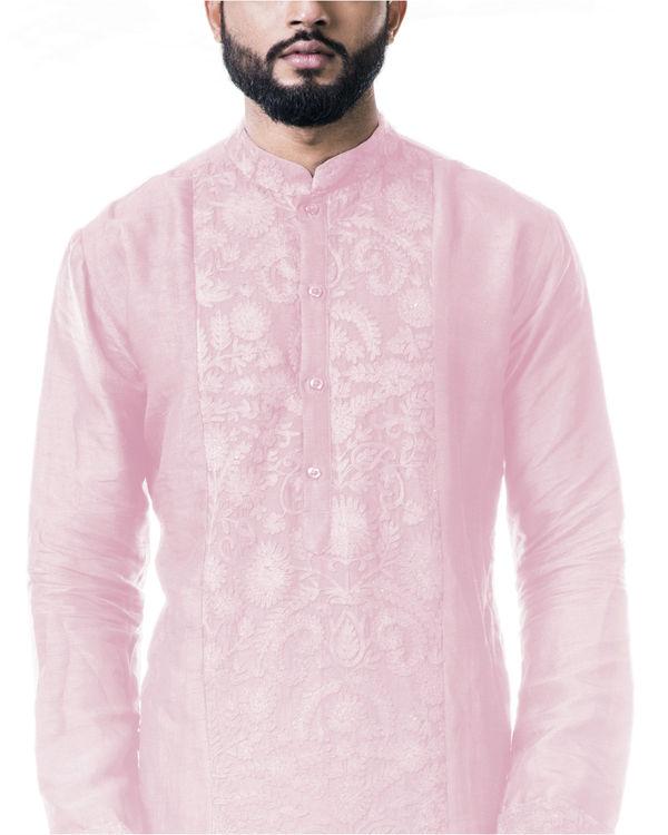 Pink ari embroidery silk kurta set 3