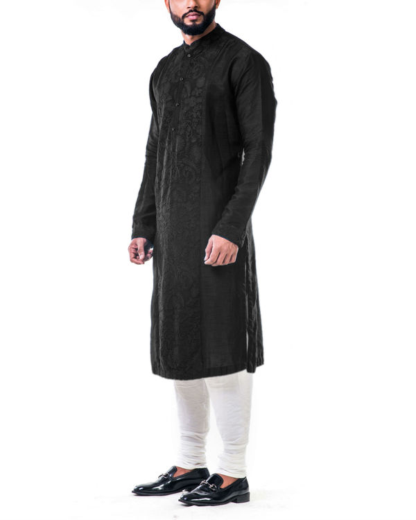 Black ari embroidery silk kurta set 3