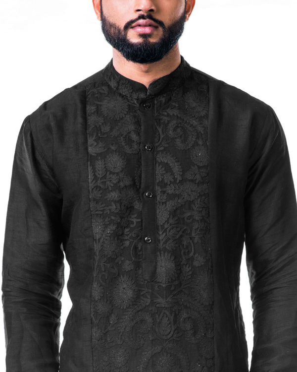 Black ari embroidery silk kurta set 1