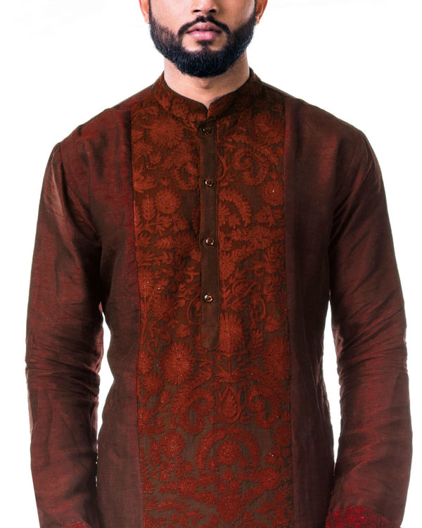 Maroon ari embroidery silk kurta set 1