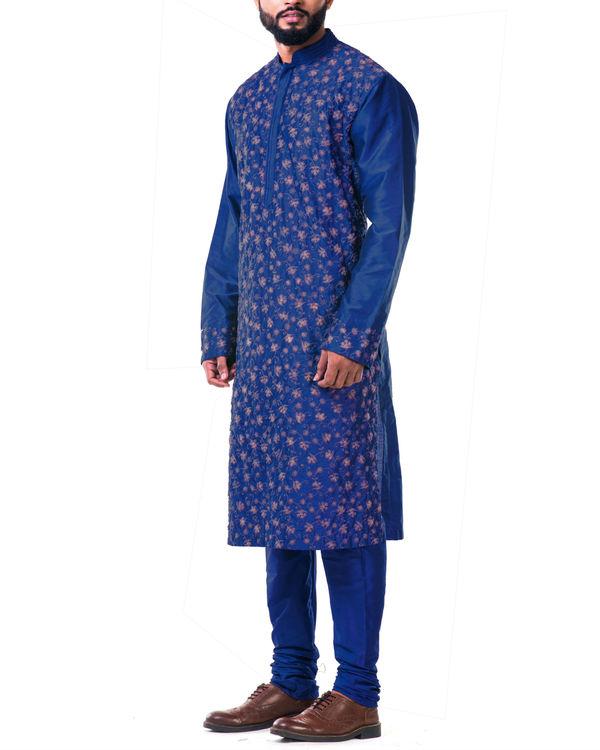 Blue  katan silk pin tuck cord embroidered kurta set 1