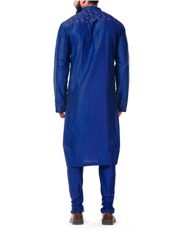 Blue  katan silk pin tuck cord embroidered kurta set 2