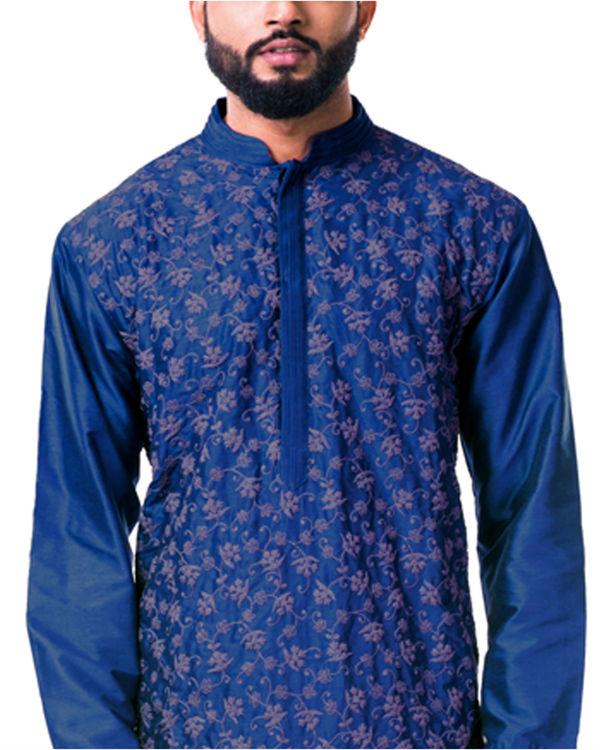 Blue  katan silk pin tuck cord embroidered kurta set 3
