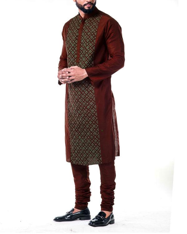 Maroon gold embroidery silk kurta set 1