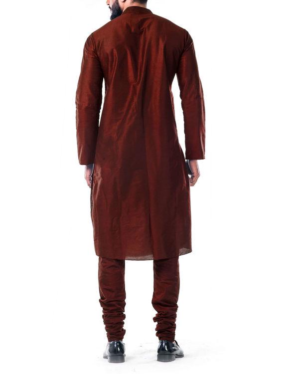 Maroon gold embroidery silk kurta set 2