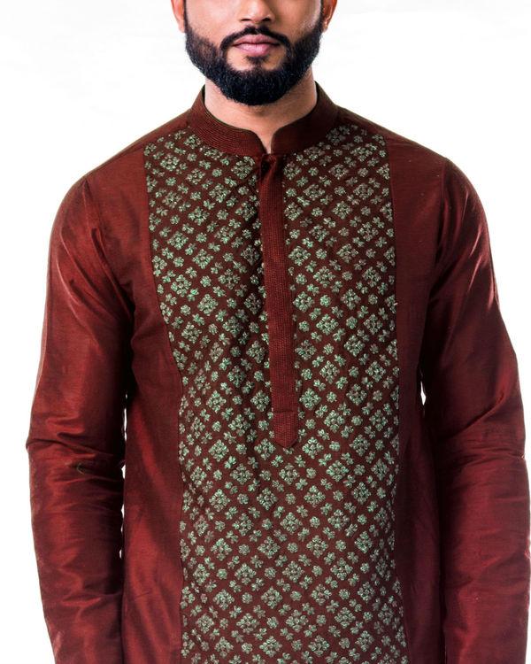 Maroon gold embroidery silk kurta set 3