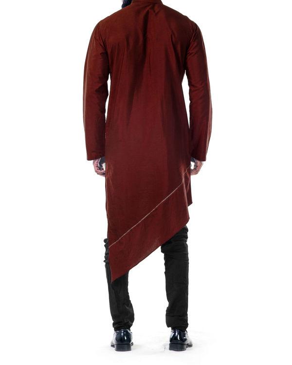 Maroon  asymmetrical hemline embroidered kurta set 1